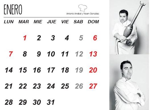 El calendario solidario cuenta con 12 recetas de los mejores chefs burgaleses