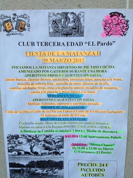 El menú del Club de la Tercera Edad de El Pardo, todo un ejemplo de frugalidad en el comer y el beber.