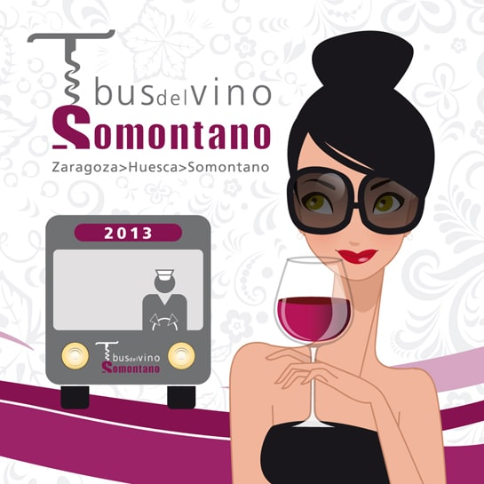 Cartel anunciador de la campaña de este año del Bus del Vino Somontano