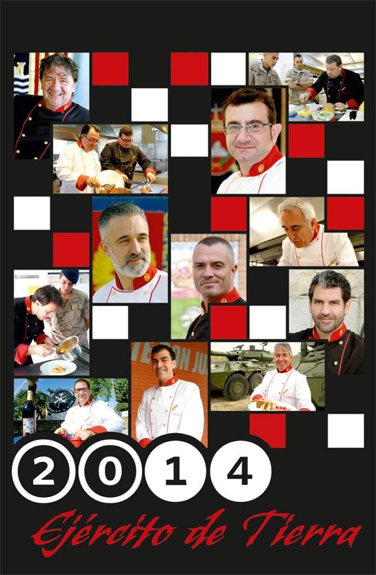 Calendario del Ejército con la fotos de los chefs participantes / DECET